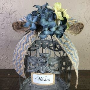 None Accents - Gray & blue rustic wedding wishes birdcage